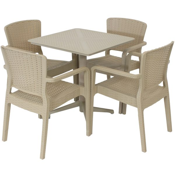 Sunnydaze All-Weather Segonia 5-Piece Indoor/Outdoor Table and Chairs - Coffee