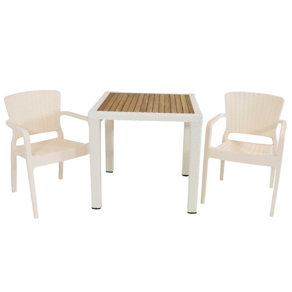 Sunnydaze All-Weather Segonia 3-Piece Indoor/Outdoor Table and Chairs - Cream