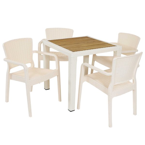 Sunnydaze All-Weather Segonia 5-Piece Indoor/Outdoor Table and Chairs - Cream