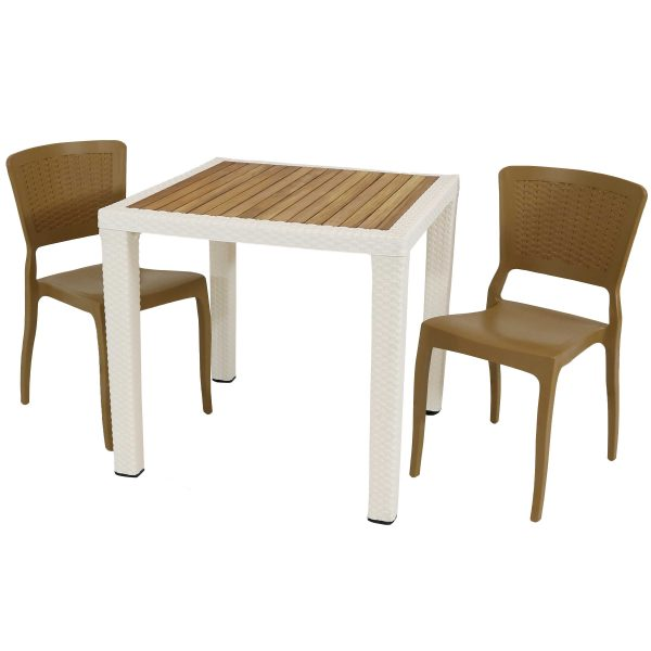 Sunnydaze All-Weather Hewitt 3-Piece Indoor/Outdoor Table and Chairs - Wood Brown