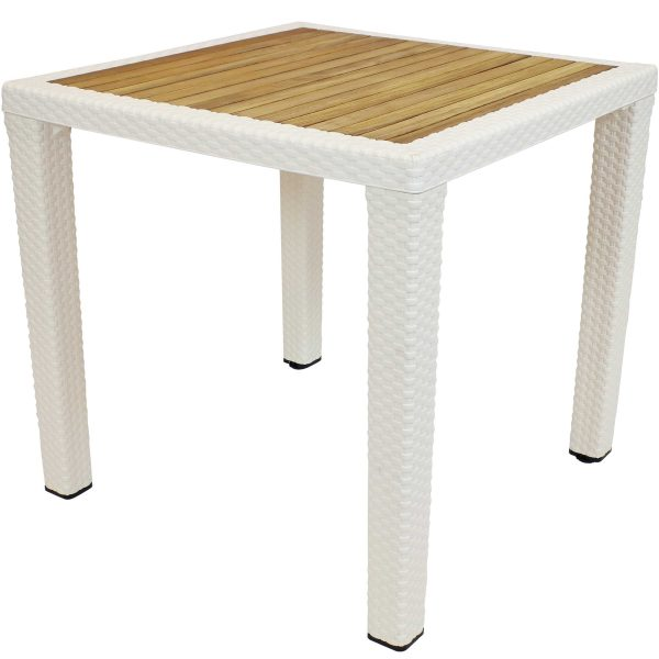 Sunnydaze Indoor/Outdoor Square Dining Table - Cream with Wood Top - 32-Inch