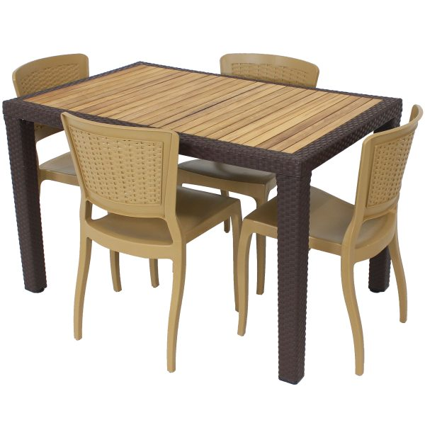 Sunnydaze All-Weather Hewitt 5-Piece Indoor/Outdoor Table and Chairs - Wood Brown