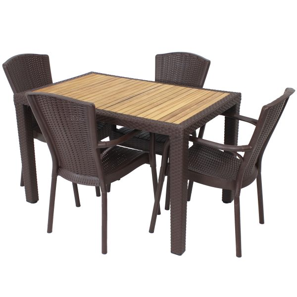 Sunnydaze All-Weather Segesta 5-Piece Indoor/Outdoor Table and Chairs - Wenge