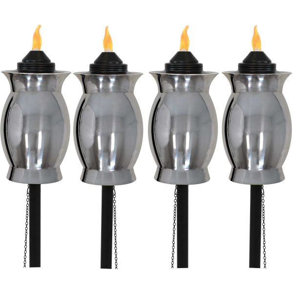 Sunnydaze Stainless Steel Outdoor Torches with Black Snuffers - 2 Sets of 2