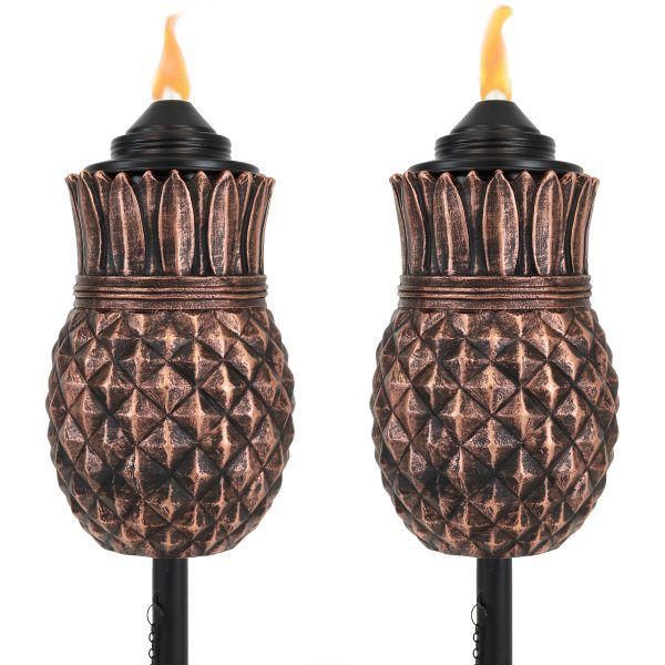 Sunnydaze 3-in-1 Pineapple Outdoor Lawn Torch - Set of 2