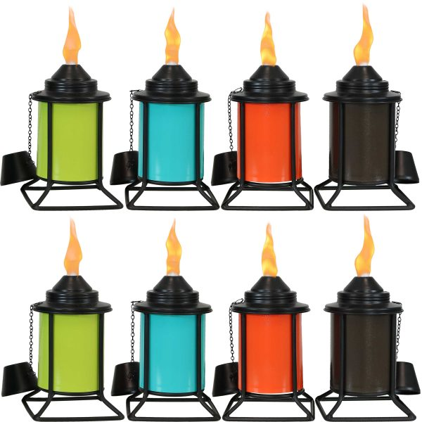 Sunnydaze Multi-Color Outdoor Tabletop Metal Torches - Set of 8