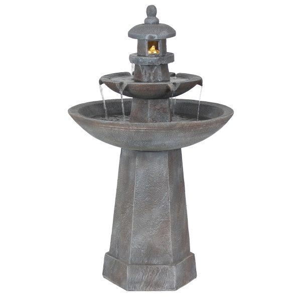Sunnydaze 2-Tiered Pagoda Outdoor Water Fountain with LED Light - 39-Inch
