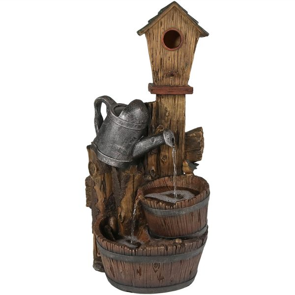 Sunnydaze Rustic Birdhouse & Garden Watering Can Outdoor Fountain 31 Inch Tall
