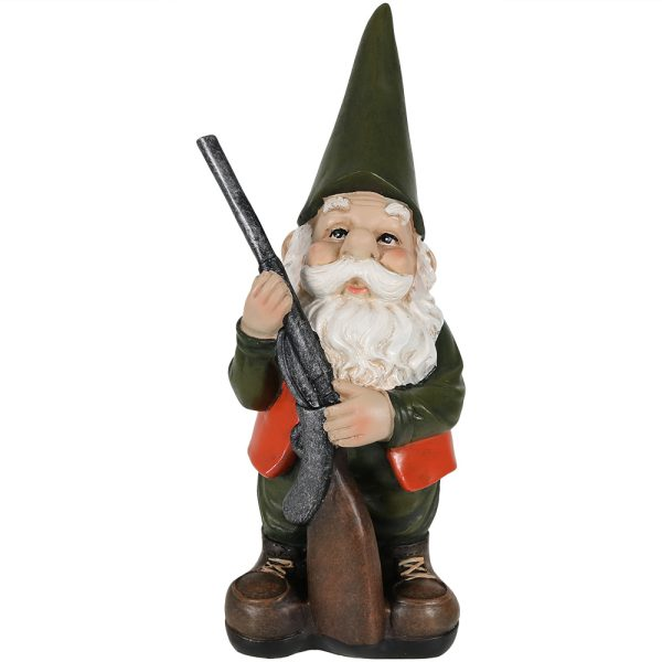 Hank the Hunting Gnome - 12 Inch Tall by Sunnydaze Decor