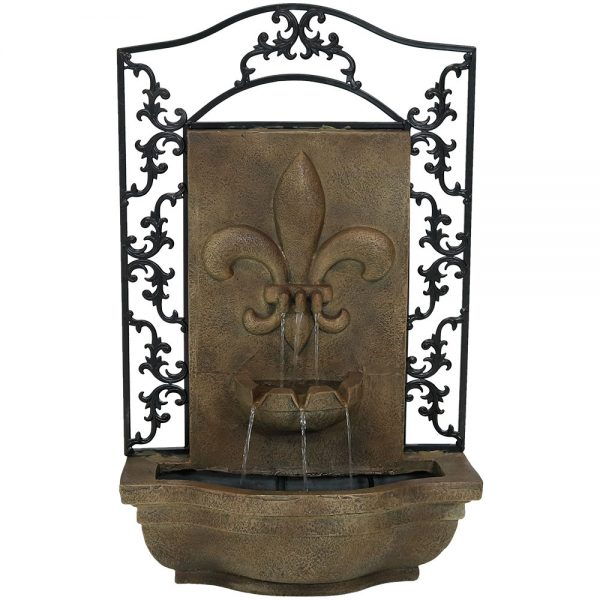 Sunnydaze French Lily Solar Outdoor Wall Fountain, Includes Solar Pump and Panel, Florentine, Solar with Battery Backup Feature