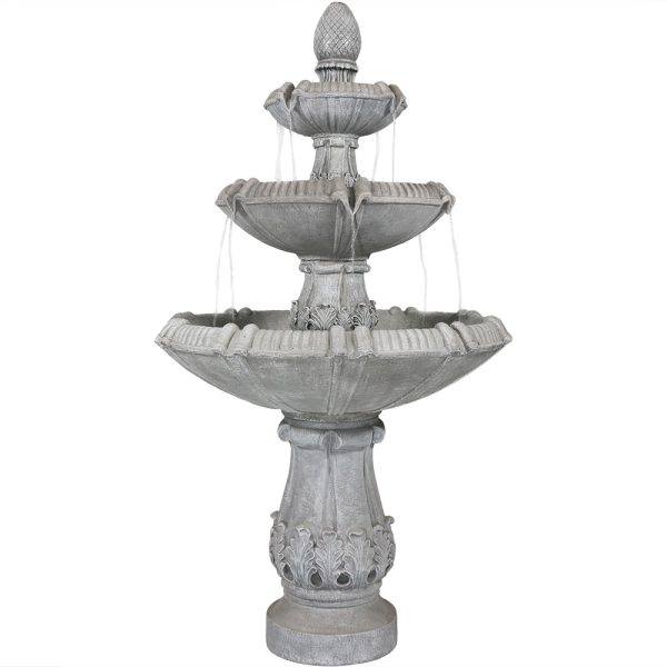 Sunnydaze 3-Tier Gothic Finial Outdoor Garden Water Fountain - 73-Inch