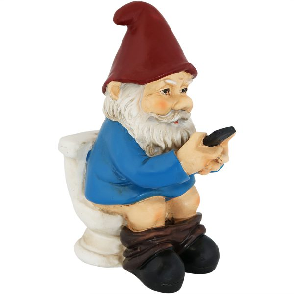 Sunnydaze Cody the Gnome Reading Phone on the Throne - 9.5 Inch Tall