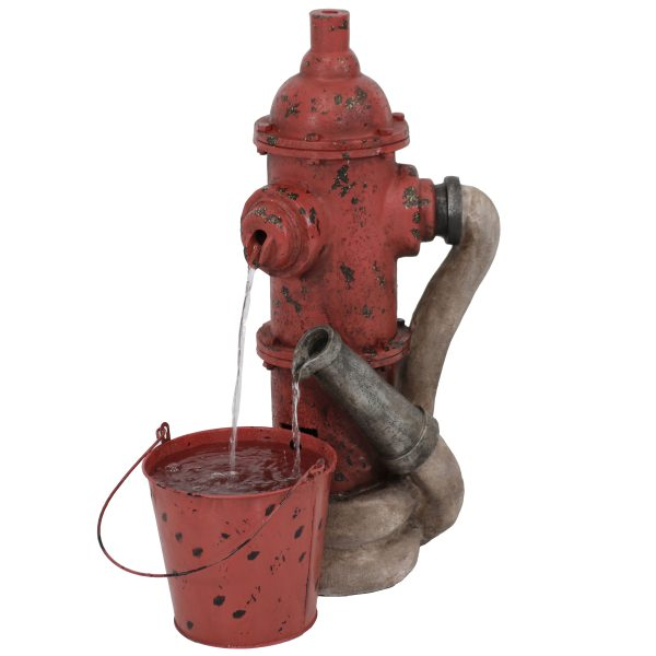 Sunnydaze Fire Hydrant and Hose Outdoor Water Fountain with Bucket 28-Inch Tall