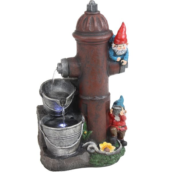 """Sunnydaze Fire Hydrant Gnomes Outdoor Water Fountain with LED Light - 16"""""""