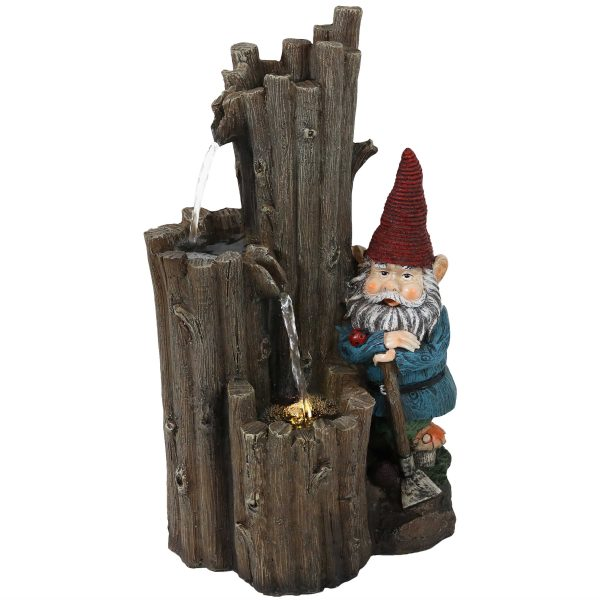 Sunnydaze Resting Gnome Outdoor Water Fountain with LED Light - 17-Inch
