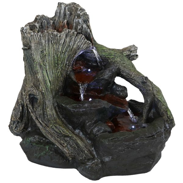 Sunnydaze Aged Logs and Flowing Brook Outdoor Fountain with LED Lights - 15""