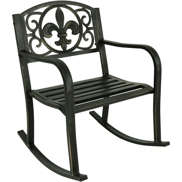 Sunnydaze Decor Patio Rocking Chair - Cast Iron with Fleur-De-Lis Design