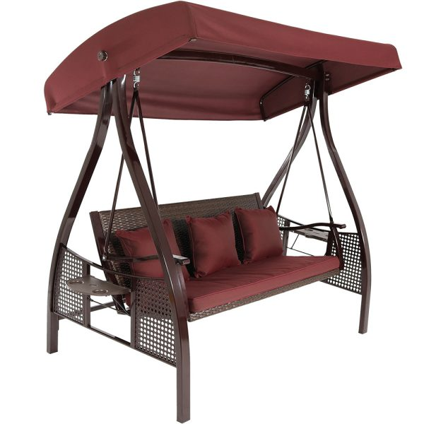 Sunnydaze Deluxe Steel Frame Cushioned Garden Swing with Canopy and Side Tables, 3-Person, for Patio or Yard, Maroon/Brown Frame