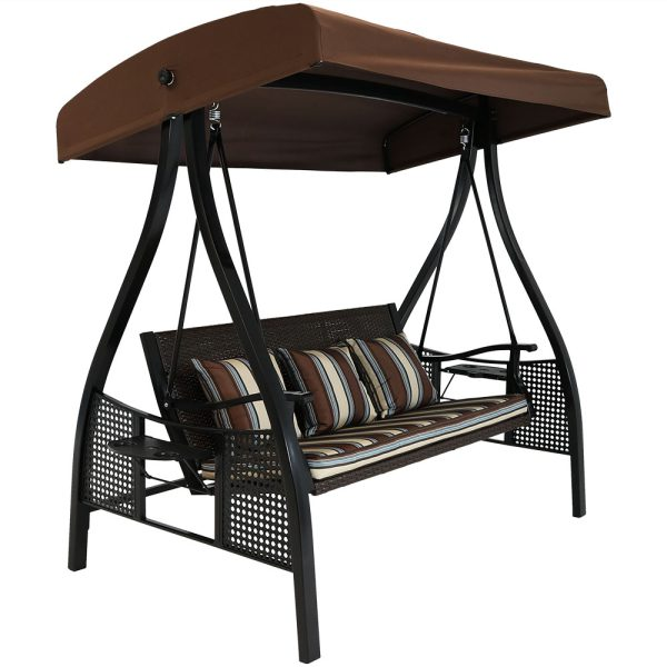 Sunnydaze Deluxe Steel Frame Cushioned Garden Swing with Canopy and Side Tables, 3-Person, for Patio or Yard, Brown Stripe/Black Frame