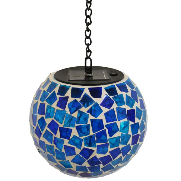 Sunnydaze Midnight Moon Mosaic Solar Hanging Orb with LED Light - 6-Inch