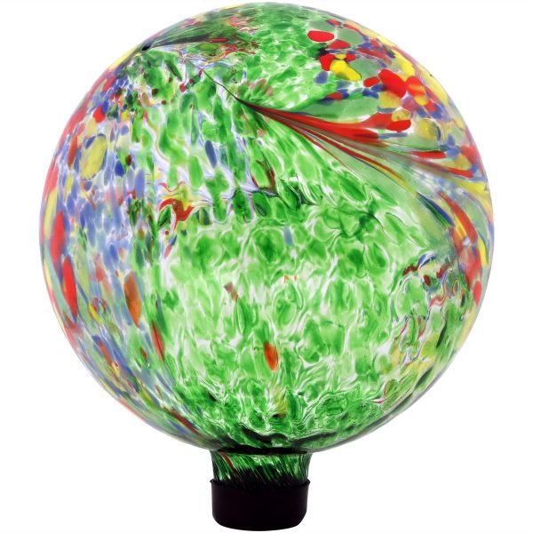 Sunnydaze Green Artistic Glass Gazing Ball Globe - 10-Inch