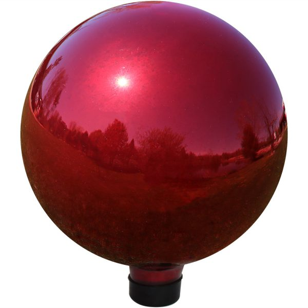 Sunnydaze 10-Inch Glass Gazing Globe Ball with Mirrored Finish, Color Options Available, Red