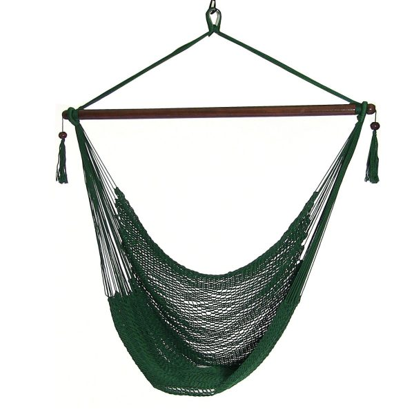 Sunnydaze Caribbean Extra Large Hammock Chair, Soft-Spun Polyester Rope, 40 Inch Wide Seat, Green